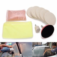 100g Cerium Oxide Powder Glass Polishing Kit Windscreen Mirrors Scratch Remover 3 Wool Polishing Pads Wheel