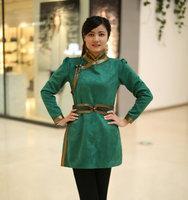 2018 The new national costume of Mongolia nationality clothing life ladies fashion Mongolia buckskin robe dress