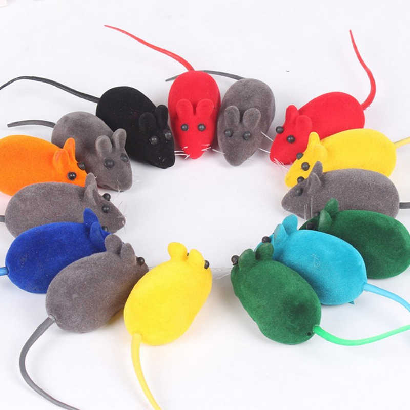 Hoomall Random Color Cute Funny Pet Cat Kitten Playing Toy Lovely Mouse Rat Squeak Noise Sound Pet Accessories Products