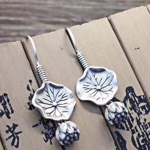 Image 2 - BALMORA gerçek 925 ayar gümüş Lotus çiçek bırak Dangle küpe kadınlar için anne hediye Vintage zarif moda takı