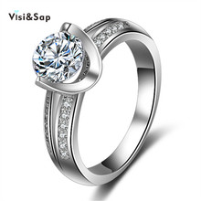 Vissap S925 Rings For Women wedding engagement Ring set CZ Diamond White Gold Plated romantic Jewelry bague Hot Wholesale VSR098