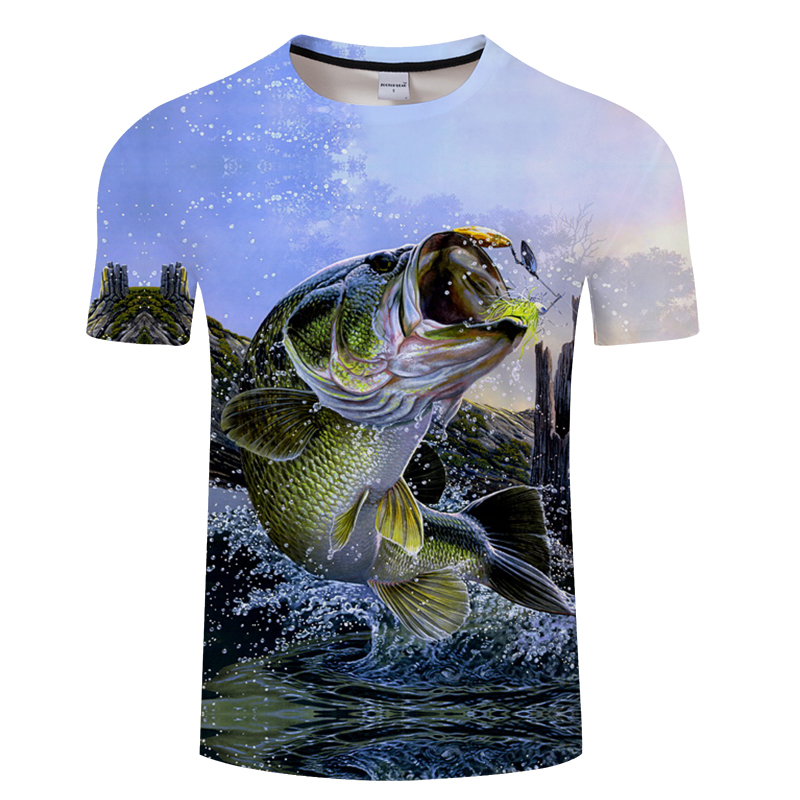 2019 new men's fashion 3d-printed T-shirt, brand fun fish print men's T-shirt hip-hop harajuku T-shirt fashion street clothing