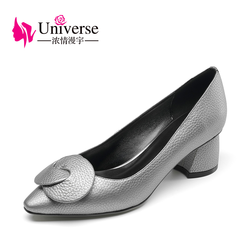 "Women Plus Size Ægte Læder Elegant Pumps Universe 4.5-9 Black Silver Thick High Heels 1,97 ""Sko Dress Pointed Toe G028"
