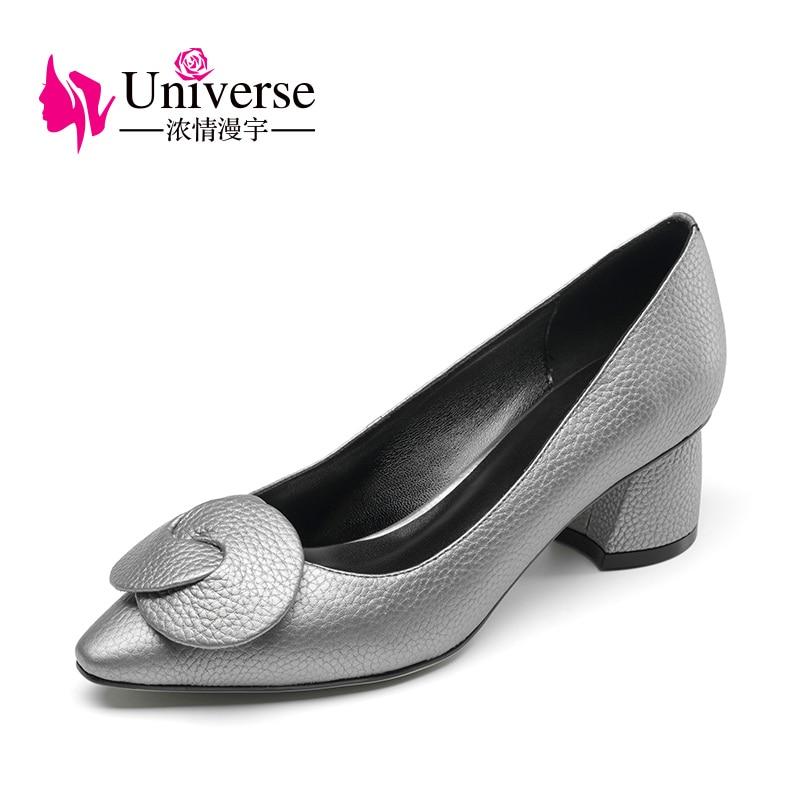 """Жінки Плюс Розмір Натуральна Шкіра Елегантні Насоси Всесвіту 4.5-9 Чорний Срібло Товсті Високі Каблуки 1.97 """"Взуття Одяг Облицьований Носок G028  t"""