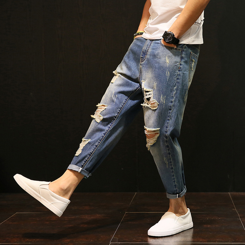 7419bd46be48 Detail Feedback Questions about Wholesale 2018 Fashion Summer Casual  Washing hip Hop Big Ripped hole beggar Denim Blue Retro teenagers boys  harem jeans men ...