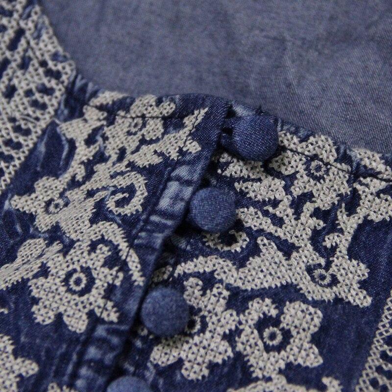 Nouveautés 2018 D'été Denim Brodé Sans Irinaw401 Manches Longue Robe Ethnique Femmes Style Vintage qpZEwSx