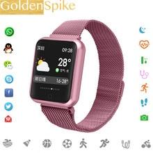 e7bf00698 بلوتوث Smartwatch P68 دعم الدم الأكسجين ضغط القلب معدل IP68 للماء الرياضة  ساعة ذكية ل xiaomi