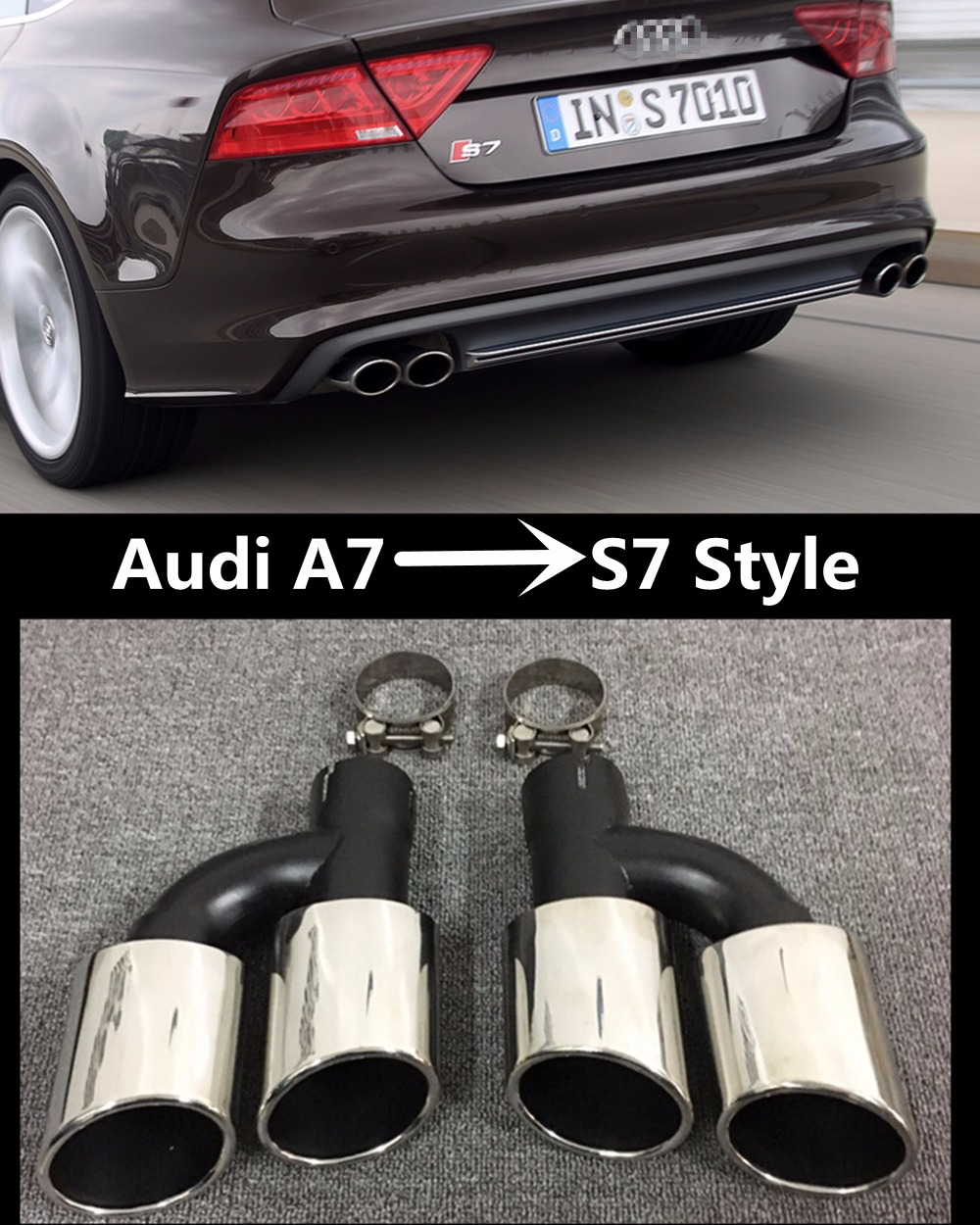 High quality  Statinless steel Auto Car Exhaust Tips Muffler tip pipe  for Audi A7 into S7 style 12-16  tail pipe car-styling one pair stainless steel exhaust tip auto car muffler end tips fit for mercedes benz w220 s500 s430 01 05