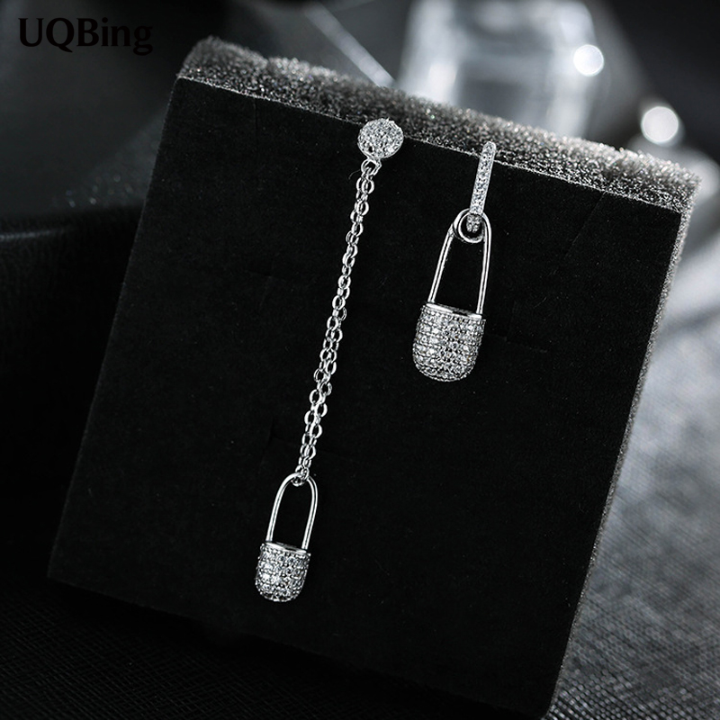 New Arrivals Fashion Asymmetric Pin Silver Earrings 925 Sterling Silver Stud Earrings For Women Jewelry Pendientes Brincos