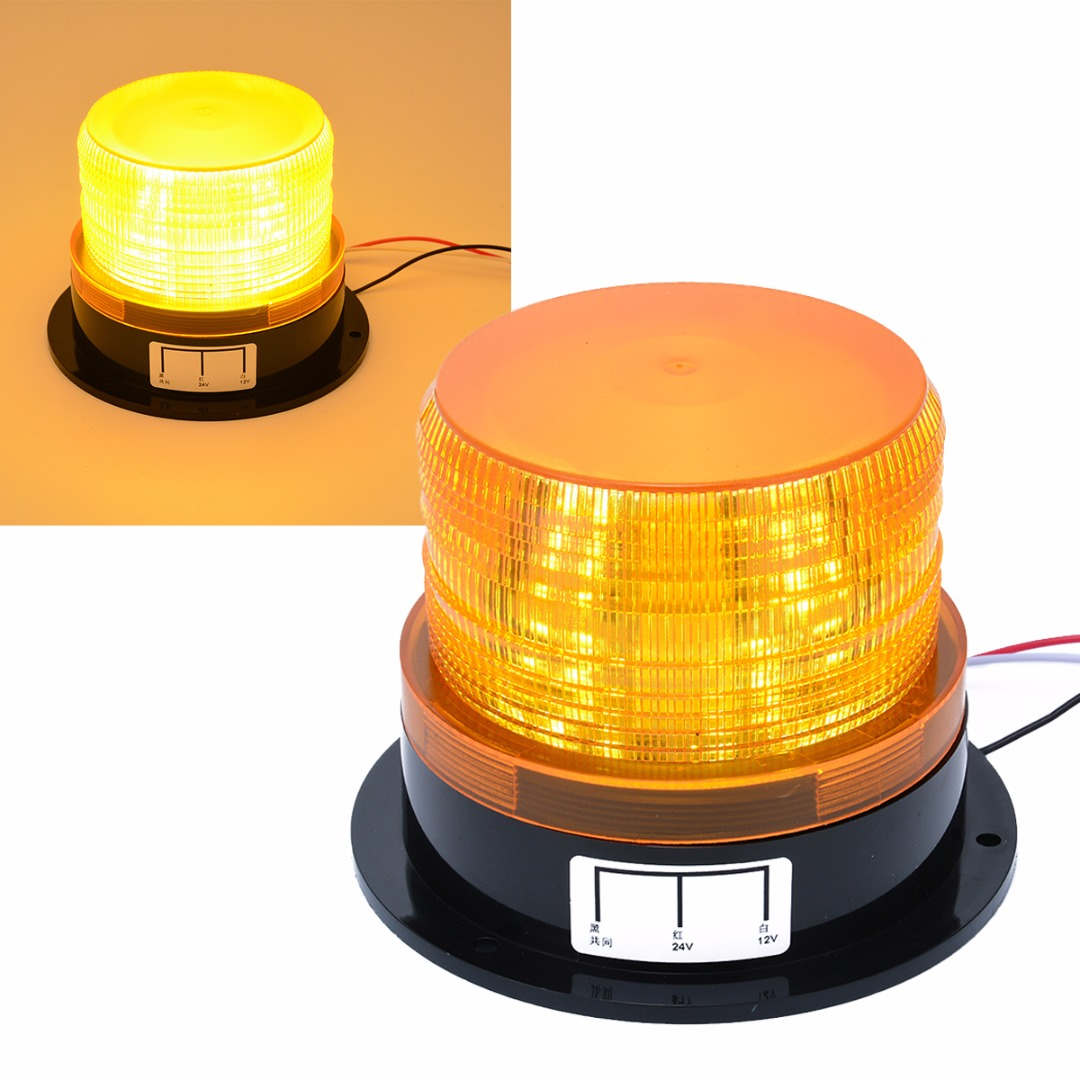Car-styling 12V-24V Car LED Flashing Strobe Beacon Emergency Warning Alarm Flash Light Lamp Amber Common Car Truck Auto