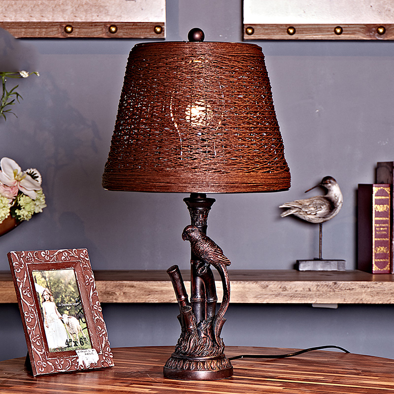 Modern Table Lamp With Fabric Lampshade LED Lamparas de mesa Resin Parrot Desk Light E27 Hotel Lighting Deco abajur para quarto trazos modern table lamp color iron lampshade led lamparas de mesa metal desk light e27 hotel lighting deco luminaria de mesa