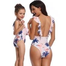Girls Women Flamingo Tropical Plants Print One Piece Bikini Monokini Beach Wear Bather Ruffle Flounces Swimsuit Swimwear Tankini