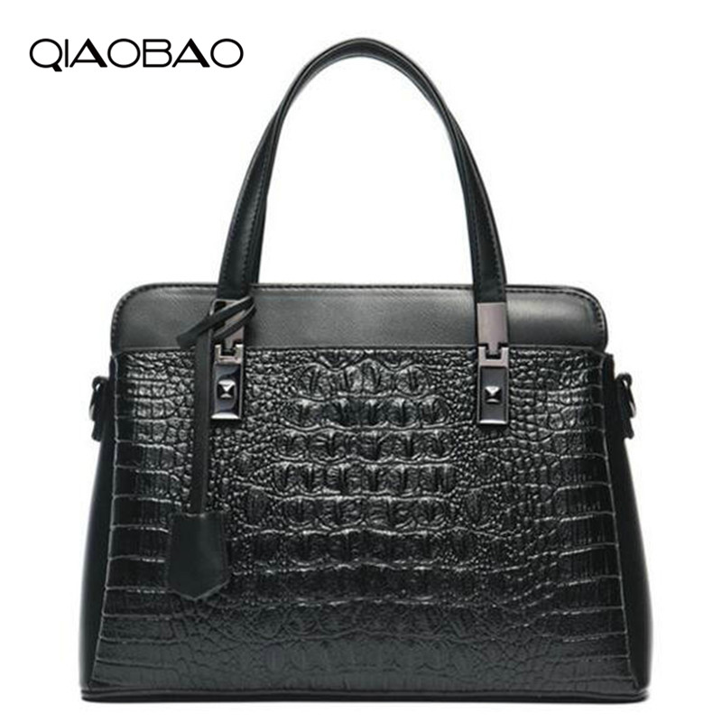 QIAOBAO Women Bag Female Shoulder Bag Handbags Women Famous brands Genuine Leather Bag Ladies Crossbody Messenger Bags Crocodile women s crossbody bags for women handbags casual soft famous brands shoulder bag ladies blue genuine leather messenger bag b198