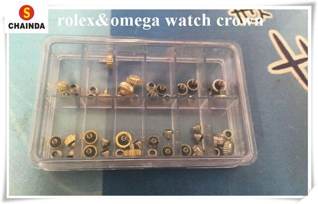 משלוח חינם 1 סט 24pcs Rlx/Omg שעון גנריים כתרים וצינורות עבור שעון תיקון