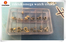 Free Shipping 1 Set 24pcs Rlx/Omg Generic Watch Crowns and Tubes for Watch Repair