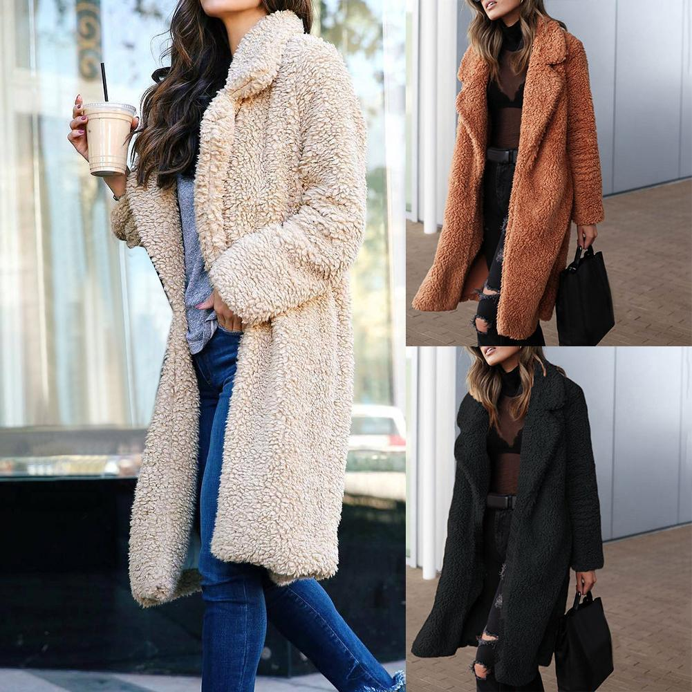 New Faux Fur Women Winter   Trench   Coat Thick Warm Long Coats Casual Lady Fluffy Solid   Trench   Plus Size Women's Clothing