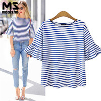 Mooishe Summer Stripes T Shirt Women O Neck Short Flare Sleeve Blue Stripes Slim Loose Women