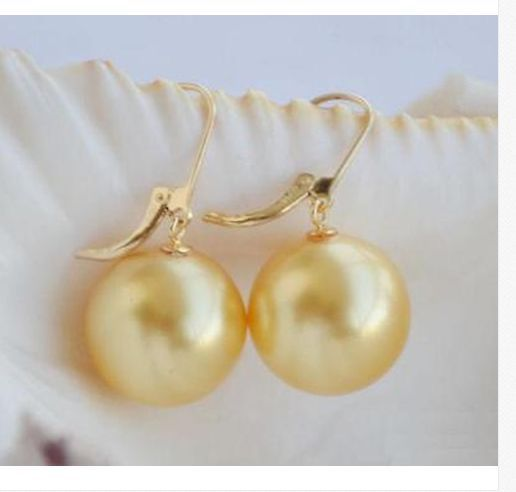 gorgeous AAA11-12MM ROUND SOUTH SEA GOLD PEARL EARRING14Kgorgeous AAA11-12MM ROUND SOUTH SEA GOLD PEARL EARRING14K