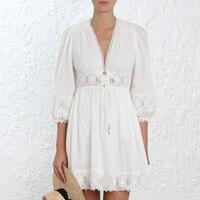 Пятно жаккардовые вышитые три четверти глубоким v образным вырезом Белое кружево хлопок тонкий мини платье с кисточкой