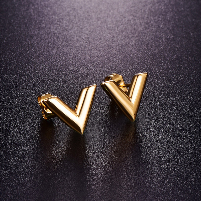 Martick 316l Stainless Steel Earrings For Women Rose Gold Color Brand V Letter Triangle Cute
