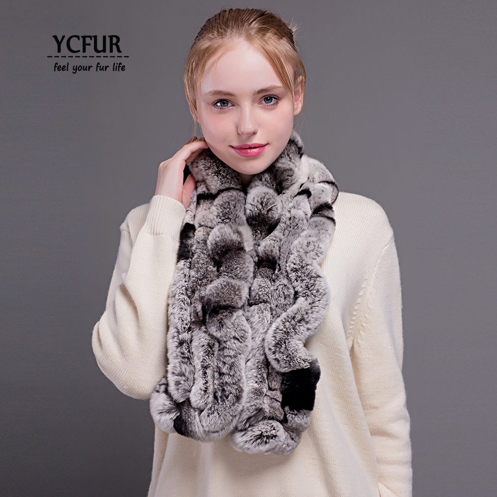 YCFUR Winter   Scarves     Wraps   For Women Natural Rex Rabbit Fur Long   Scarf   For Lady Soft Warm Real Scarfs Shawls Female