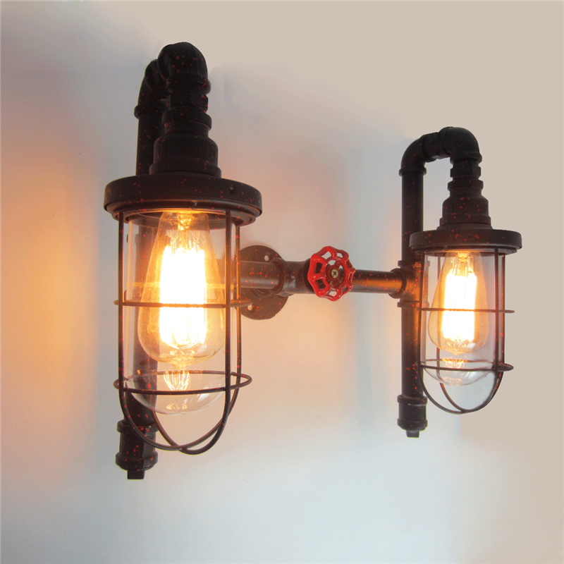 Vintage E27 Creative personality retro iron wall lamp American Village Double head cage Water pipe lamp loft Edison wall light personality creative rope restaurant wall light simple pastoral iron retro wall lamp double section turner lighting