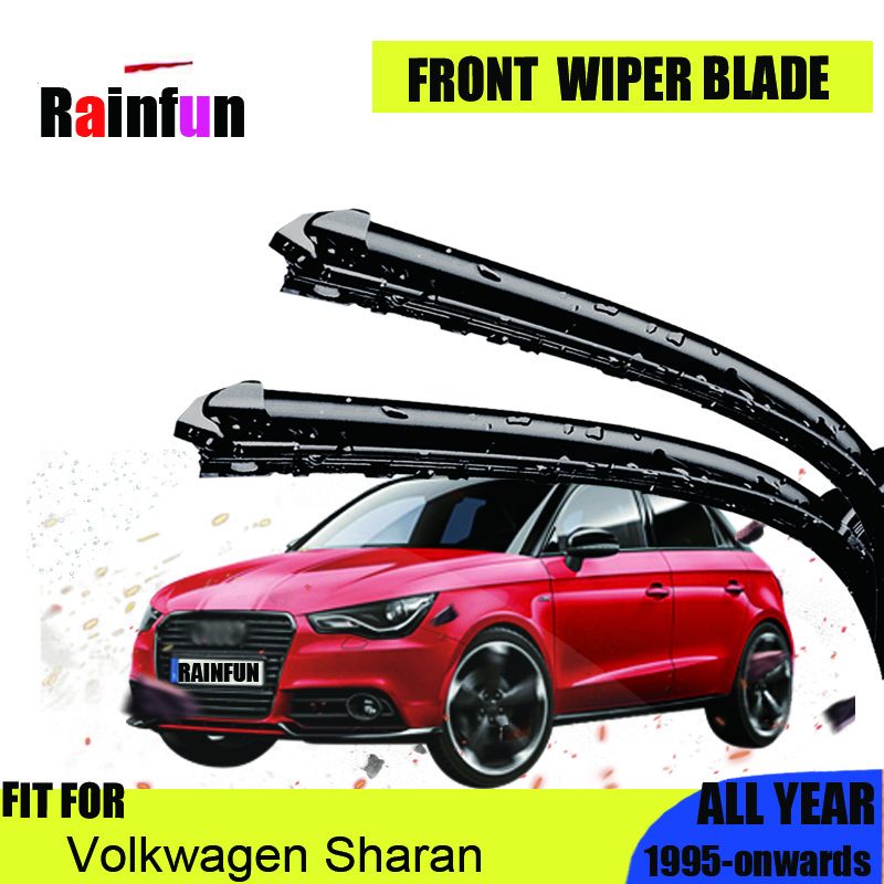 RAINFUN Wiper Blades for Volkwagen Sharan Fit Hook / Side Pin / Push Button Arms Model Year from 2003 to 2018