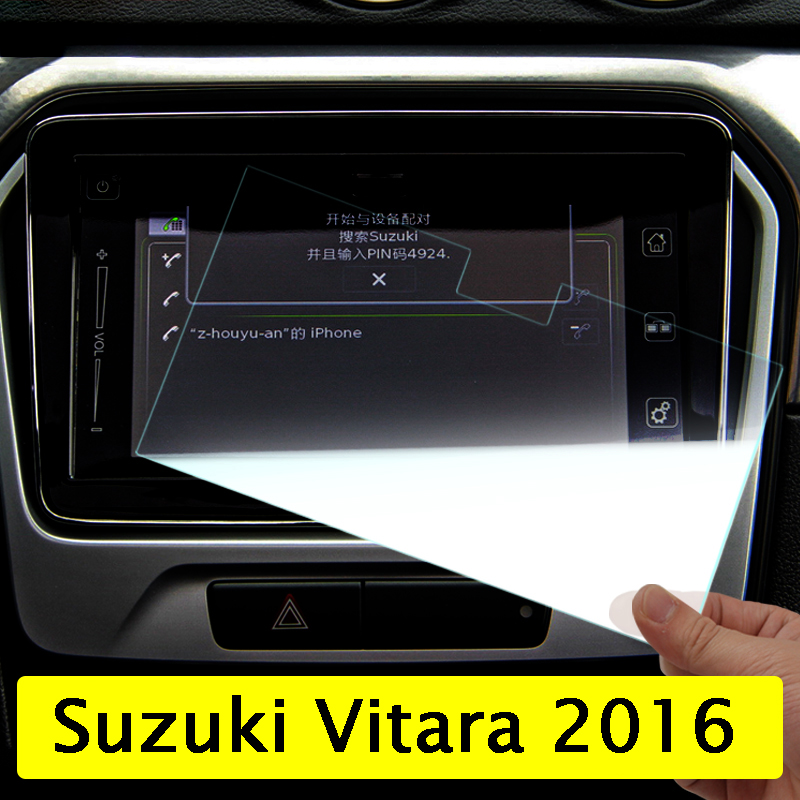 Car GPS Navigation Screen Tempered Steel Protective Film For Suzuki Vitara 4th 2015 2016 2017 2018 Control of LCD Screen Sticker 8 4 inch gps navigation screen steel protective film for jeep grand cherokee srt compass 2017 2018 control of lcd screen sticker
