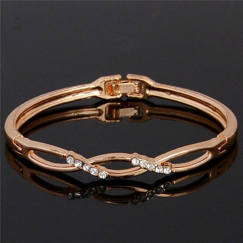 2bd37ff13a50 Shuangr moda pulsera para las mujeres rosa de oro color austriaco cristal  rhinestone bangle joyería bijoux Femme pulseiras