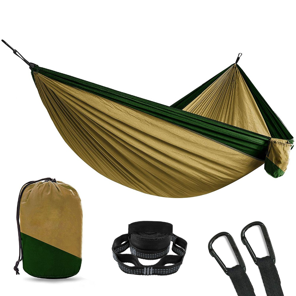 Nylon Camping Hammock With 2pcs Tree Straps XL 10 Foot 2 Person Double Portable Heavy Duty Holds 700lb for Sitting Hanging Chair sesibibi 2pcs цвет случайный xl