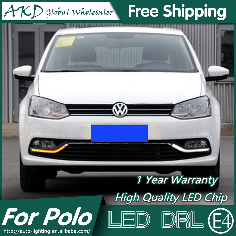 AKD Car Styling LED Fog Lamp for VW Polo DRL 2014-2015 New Polo LED Daytime Running Light Fog Light Signal Parking Accessories free shipping new pair halogen front fog lamp fog light for vw t5 polo crafter transporter campmob 7h0941699b 7h0941700b