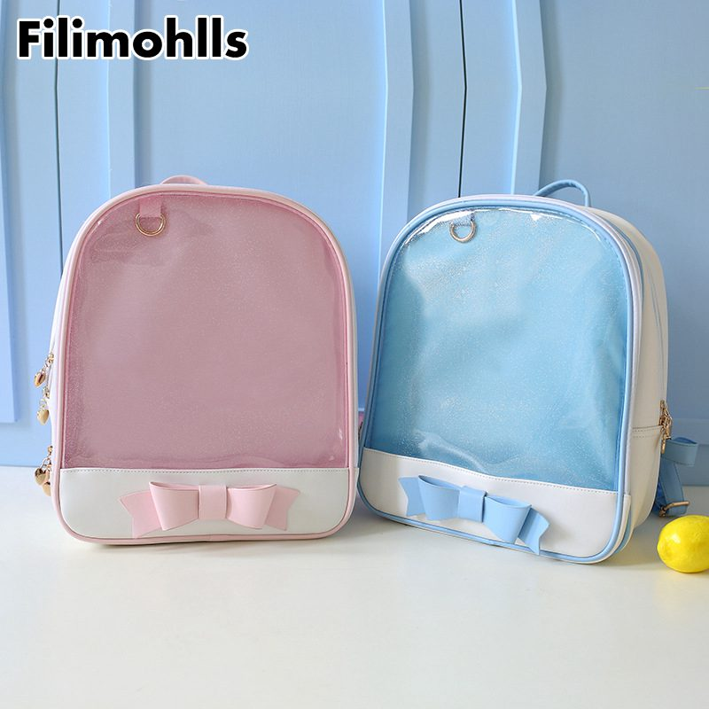 Ita Bag With Bow Clear Transparent Backpack Bags Kids Girls School Women Teens