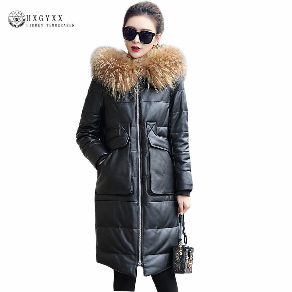 03c94187424 2019 2017 Women Genuine Leather Jacket White Duck Down Sheepskin ...