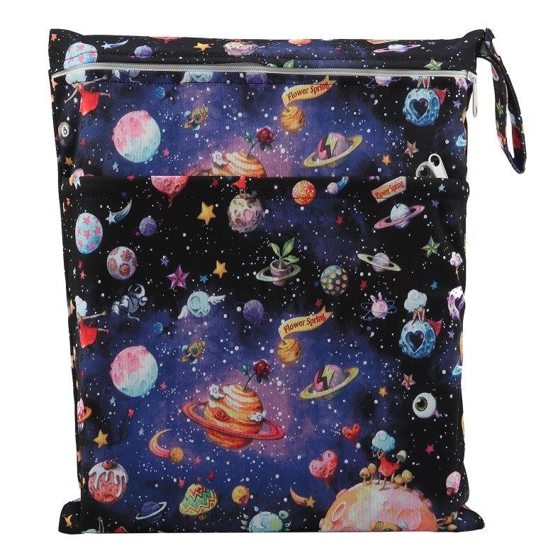[Sigzagor] 1 Влажная сухая сумка с двумя молниями для детских подгузников, водонепроницаемая сумка для подгузников, розничная и, 36 см x 29 см, на выбор 1000 - Цвет: W92 solar system