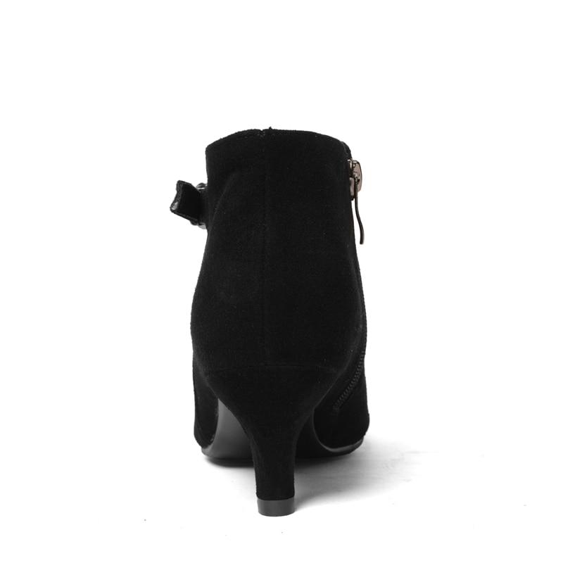 Fino Bajo 34 Gamuza Black De Botas Cremallera Enmayer Zapatos Casuales Tacón Moda Tamaño Punta Hebilla Mujer Cr1329 cal Mujeres 40 Tobillo Iq6xBvwz