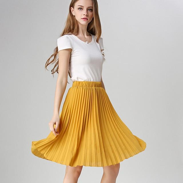ANASUNMOON Women Chiffon Pleated Skirt Vintage High Waist Tutu Skirts Womens Saia Midi Rokken 2016 Summer Style Jupe Femme Skirt 1