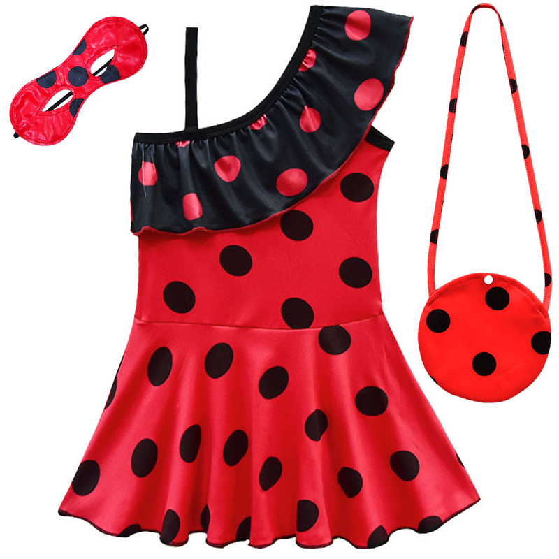 Girl Beach Swimwear Summer 2019 Kids Baby Moana Ladybug Swimsuit Swimming Soft Clothes with bag for 3-10 Child