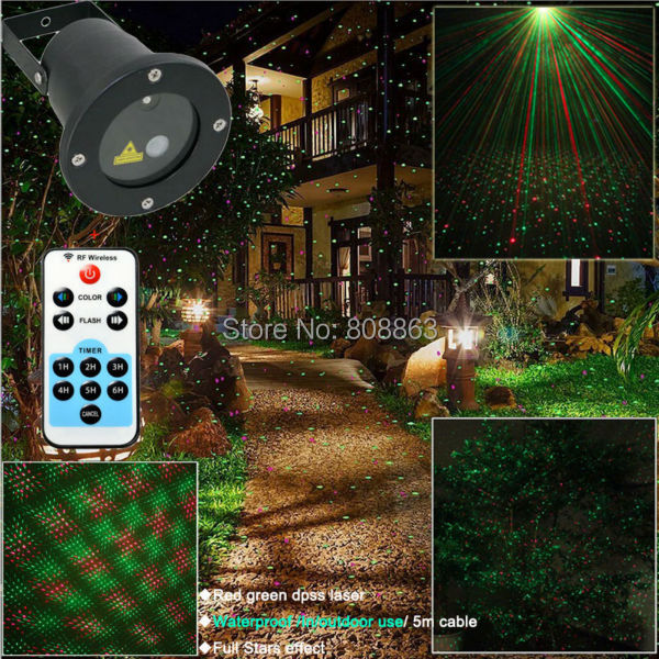 R&G Remote Outdoor Waterproof Xmas Laser Projector Full Stars Patterns Landscape Club Home Party Park DJ Tree Garden Light B198