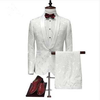 Custom Made Printed Men Wedding Suits 2018 Latest Design Wedding Tuxedos For Men Slim Fit Mens Prom Party Suits (jacket+pant)