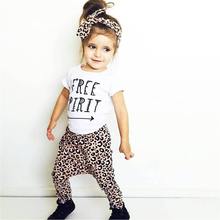Baby girl clothes cotton short-sleeved letters t-shirt+leopard pants+headband infant newborn baby girls clothing set