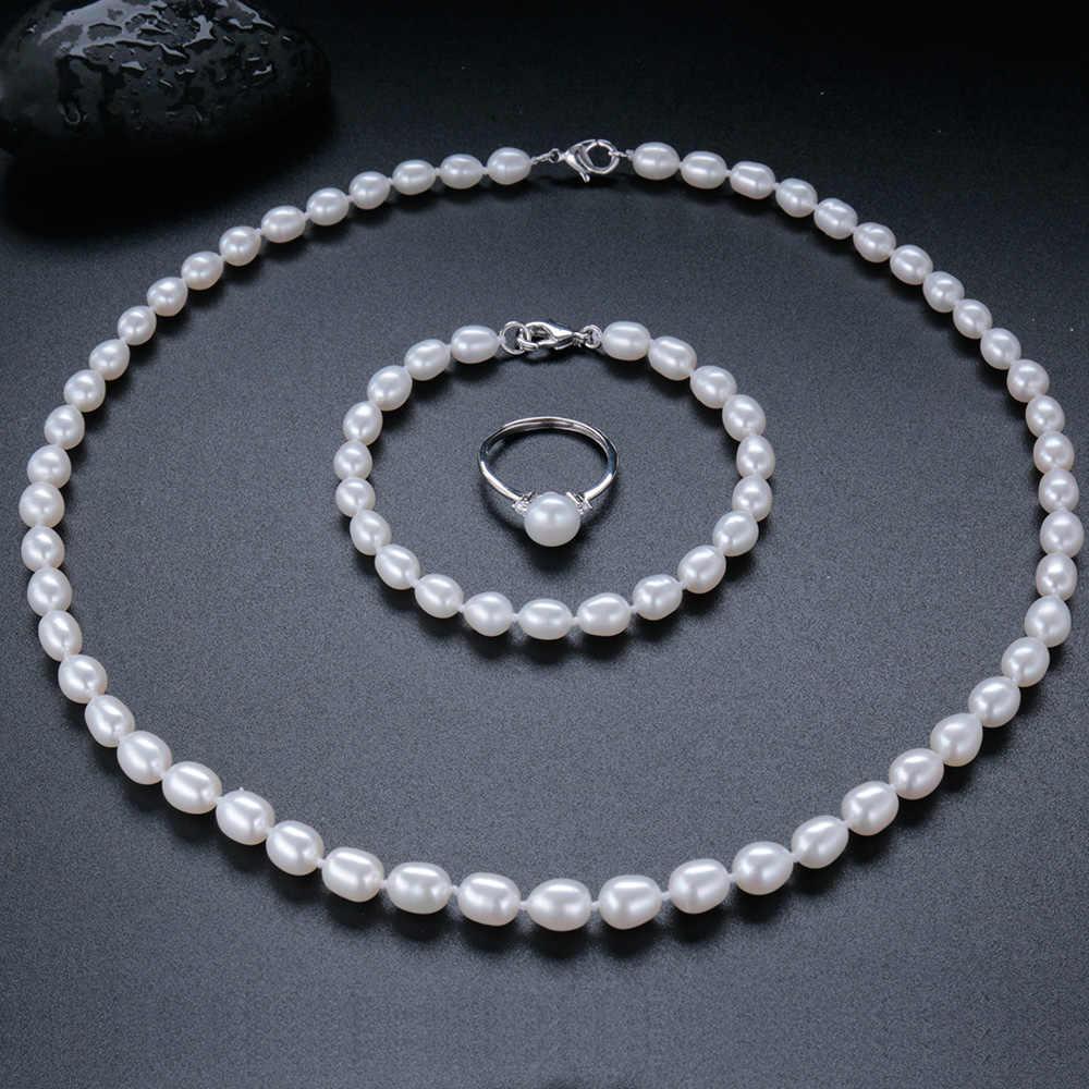 Veamor חדש מותג תכשיטים סט AAAA 100% נדל מים מתוקים פרל לחנוק שרשרת 925 כסף אישה נשי קסם צמיד