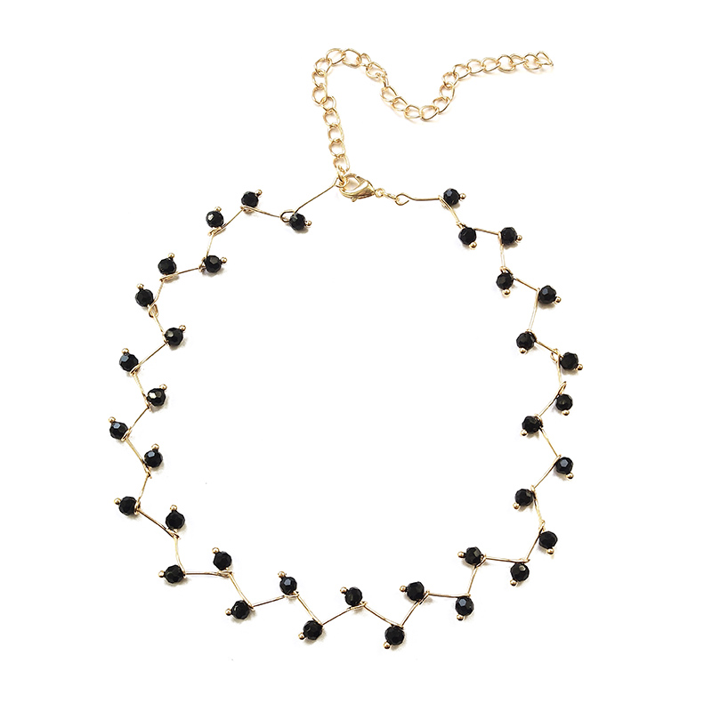 19 New Arrivals Hot Fashion Black Crystal Necklace Torques Bijoux Simple Cross Strand Beaded Chokers Necklaces Women Jewelry 5