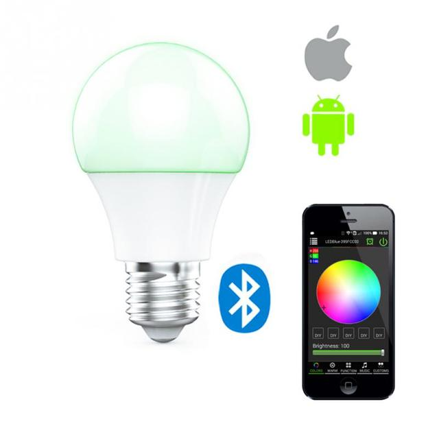US $15 99  E27 Wireless Bluetooth Dimming LED Bulb Music Sync Color  Changing APP Controlled Party Mood Lighting Lights Romantic Bulb-in Table  Lamps