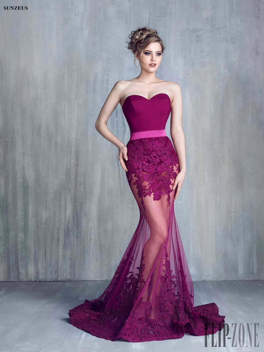 Mermaid Sheer Bottom Sexy Evening Gowns Sweetheart Long Purple Party ...