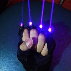 Kostenloser Versand Violett Blau Laser Handschuhe Mit 4 stücke 405nm laser, Bühne Handschuhe für DJ Verein/show Party