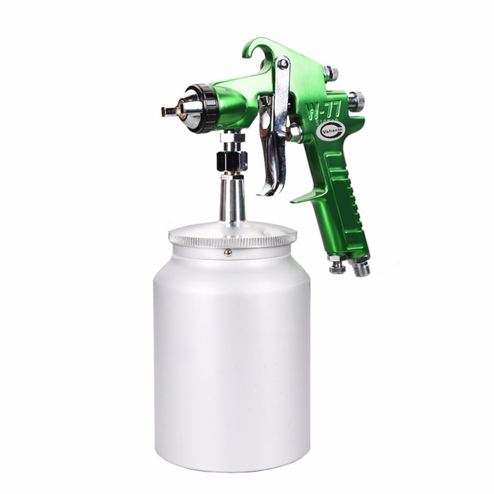 цена на Free Shipping W77-S Green HVLP Siphon Feed Spray Gun Professional Sprayer Air Tool Spray Paint Gun Machine Use For Wood Working