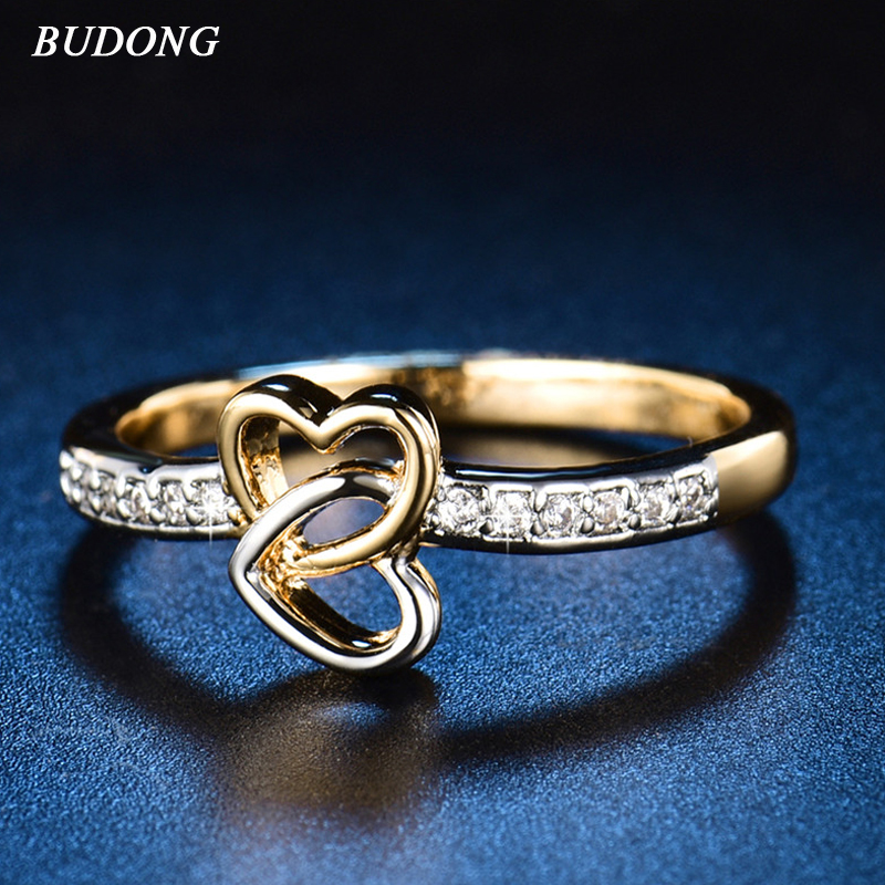 BUDONG Infinity Radiant Hearts Of Luxury Enamel Ring for Women with Clear CZ Gold-color Wedding Engagement Jewelry XUR604