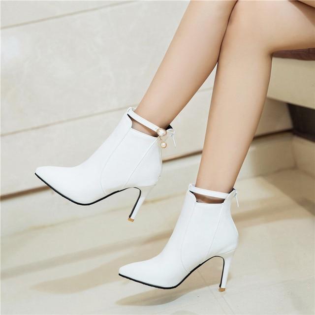 b33a49b7ad9 YMECHIC Sexy tacones fiesta boda zapatos de mujer Zapatos blanco negro  tobillo botas tamaño grande hebilla