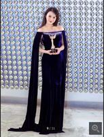 New arrival royal blue velour sheath off the shoulder evening dress formal crystals celebirty with jackets evening gowns on sale