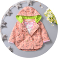 Baby girls in the spring autumn trench coat 2016 children hooded jacket cartoon printed cotton coat double-breasted trench coat
